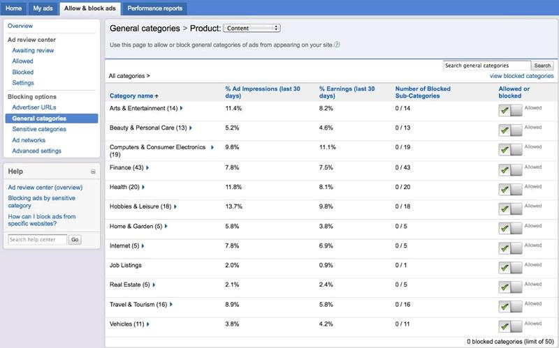 Kategoriefilter bei Google AdSense