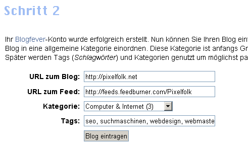 Registrierung bei Blogspeed
