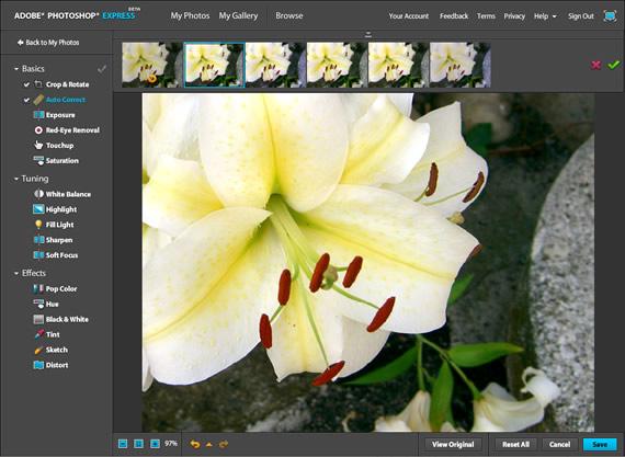 Foto bearbeiten bei Photoshop Express