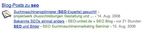 Blogposts in Googles Suchergebnissen