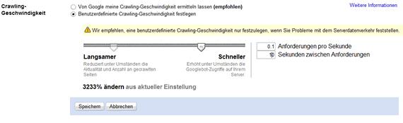 Bestimmen der Crawling-Geschwindigkeit in den Google Webmaster Tools