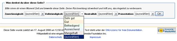 Artikelbewerteung bei Wikipedia
