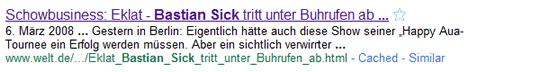 Google-Suchergebnis zu Bastian Sick