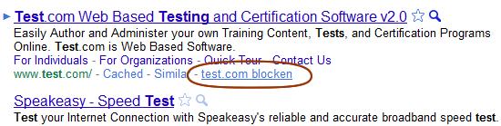 Personal Blocklist bei Google Chrome im Einsatz